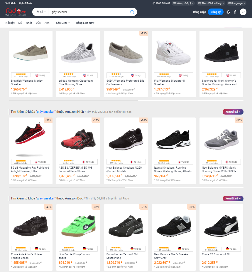 Mua các loại giày chính hãng trên Fado